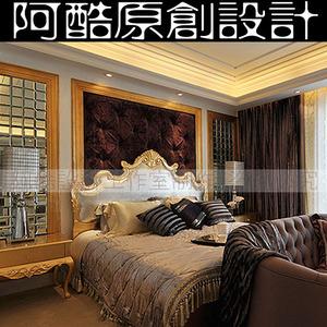 欧式卧室主人房床头背景3d三维效果图实体装修设计方