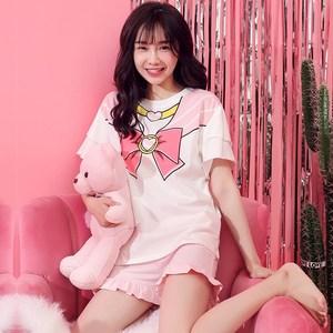 睡衣个性潮女 时尚 夏季装短袖两件套夏天粉色韩版少女薄款可服饰