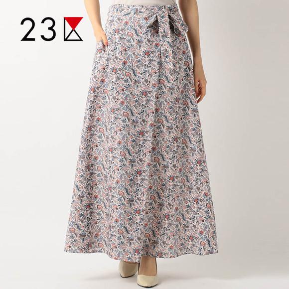 23区印花半身裙夏季小清新系带收腰显瘦不规则气质优雅长裙裙子