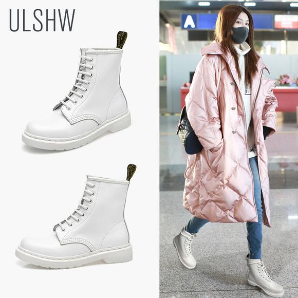 白色短靴春短筒马丁靴女粗跟学生靴子2018秋冬新款英伦平底女靴潮