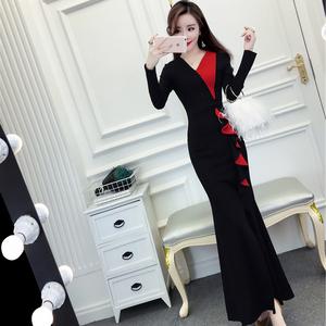 蘑菇街女装2019春季新款韩版名媛时尚气质修身连衣裙礼服裙长裙潮