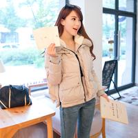 2014 冬季新款韩版时尚针织拼接连帽加厚大码女士羽绒服保暖外套