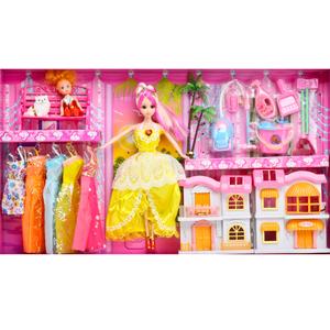 芭比娃娃套装很多衣服女孩洋玩具立体房子可开门别墅