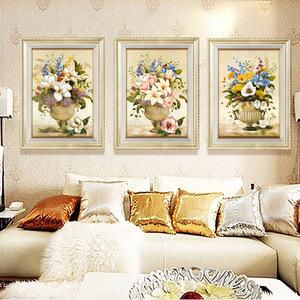 客厅装饰画现代简约沙发背景墙画欧式壁画有框三联画