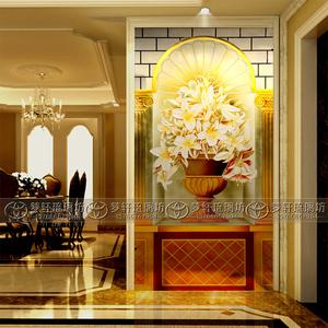 2014新款现代简欧艺术玻璃 /strong>玄关背景墙