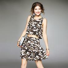 2016新款女装夏装套装时尚迷彩休闲套装 短背心搭配阔腿短裤热销