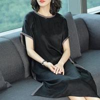 阿吉多夏装2017新款铜氨丝裙子女黑色夏季大码气质宽松名媛连衣裙