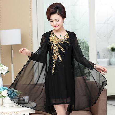 中年女装刺绣花 网纱两件套装中老年婚礼妈妈装夏装连衣裙z中长款