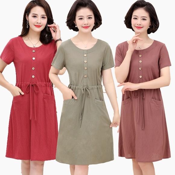 妈妈连衣裙夏装气质2019新款短袖中老年夏季裙子高贵中年妇女洋气