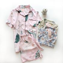 纯棉绵绸睡衣女士夏季短袖短裤缎质家居服2件套春夏女装0.21