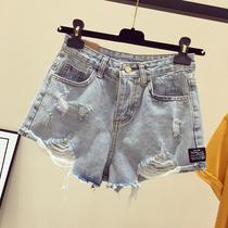 高腰破洞牛仔短裤女夏季大码胖mm瘦高腰宽松白色学生外穿阔腿热裤