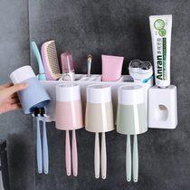 牙刷牙膏卫生巾间置物架收纳盒防尘卫生牙刷座可挂5只牙刷