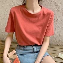 短袖T恤女2019夏新款纯棉白色学生宽松欧美bf风青少年韩版宽松大码体恤