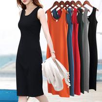 黑色背心长裙打底中长款无袖腰中长款衬衫裙子仙女超仙森系