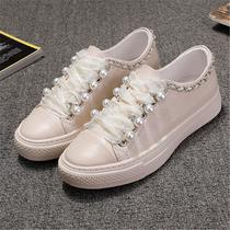2019夏季新款韩版真皮厚底女大码防滑工作鞋真皮系带中老年女鞋