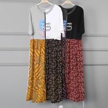 走秀连衣裙女夏季新款欧美撞色个性学生不规则中长款T恤女裙子