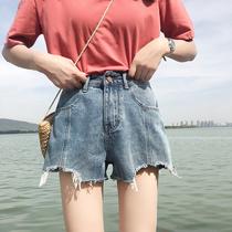 2019夏季新款网红同款破洞高腰热穿高腰韩版显瘦休闲宽松热裤