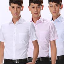 夏季男士短袖衬衫白色正装韩版修身韩版学生宽松西装领短袖雪纺衬衫