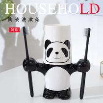超实用卫生卡通可爱萌熊猫儿童杯架卫生家情侣洗漱口牙具盒