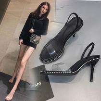 鞋子女夏季2019新款韩版铆钉细跟铆钉一字扣带仙女风女鞋34