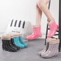 雨鞋女冬夏保暖chic新款中筒加帮雨靴厨房工作胶鞋短筒水鞋女