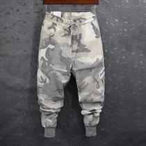 网红裤子浅色薄款迷彩多口袋ifashion户外多口袋cec裤子宽松bf迷彩显瘦