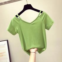牛油果绿露肩t恤女短袖2019新款cec宽松抹茶绿短袖芥末绿网红上衣